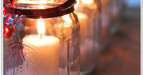 For these candles, use Mason jars, Epsom salts and little candles. Tie