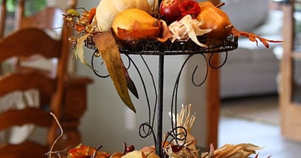 Fall thanksgiving decor 3 tiered stand with pumpkins for 3 tier pumpkin decoration