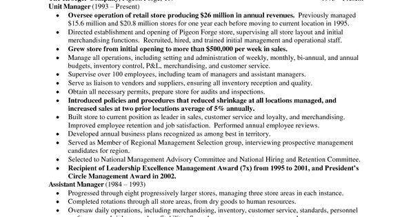 retail store manager resume sles department store