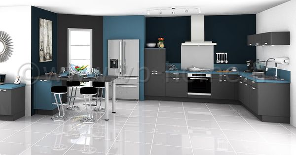 Grande cuisine ouverte moderne avec fa ades gris bleu for Grande cuisine ouverte