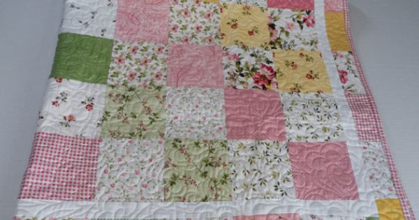 lap quilt sofa throw patchwork quilt cottage chic roses flowers pastel quilt wild rose. Black Bedroom Furniture Sets. Home Design Ideas