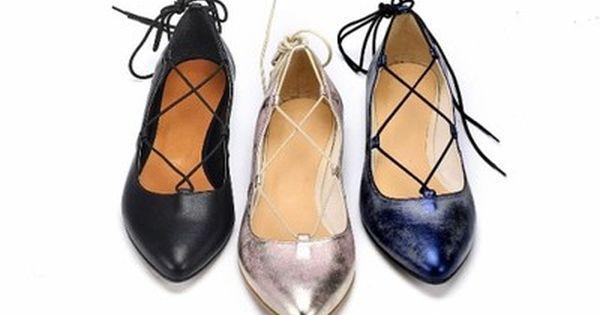 Karllo Balerinki Rzymianki Hit Sezonu Skora Shoes Lace Up Flat Lace Up