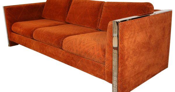 Orange 1970 39 S Chrome Trim 3 Seat Cube Sofa By Selig Monroe Mid Century Modern Furniture