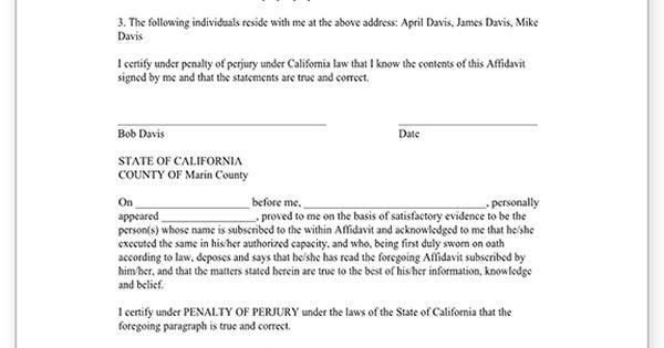 Sample For Proof Of Residency Sample Of Landlord Letter Proof Of   Address  Affidavit Form  Address Affidavit Sample