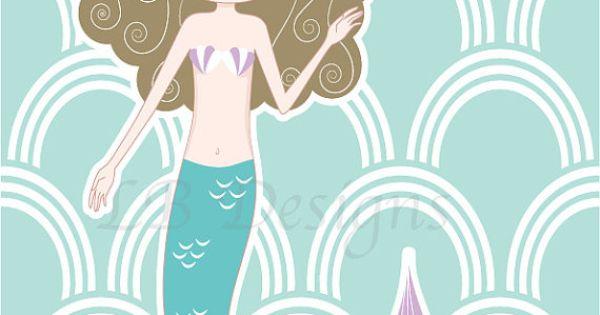 Purple and aqua mermaid nursery print mermaid bedroom for 8x10 bedroom ideas