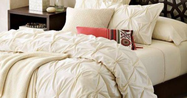 Pintuck Duvet Cover White Gold Cream West Elm Organic