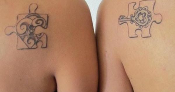 sisters tattoos idea (love the puzzle pieces, an autism awareness logo too)