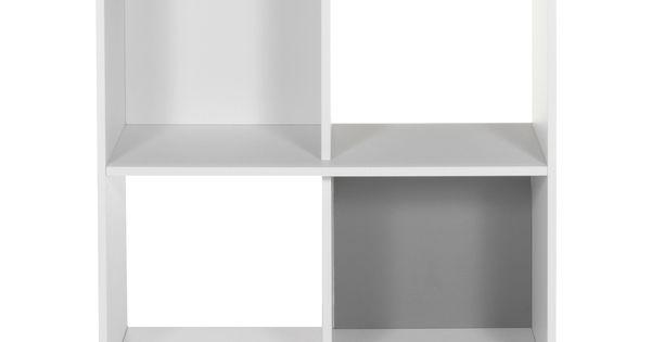 Meuble De Rangement 4 Cases Sur Roulettes Blanc Blanc