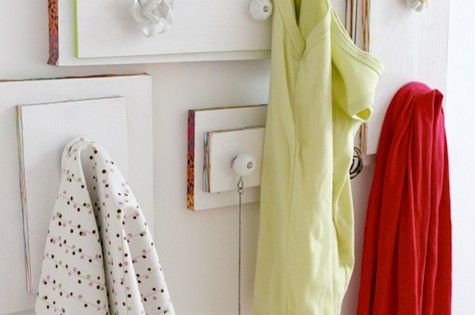 old drawers pulls as new hangers - such a fabulous idea for