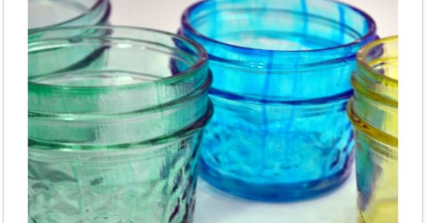 storage jars colored with modge podge & food coloring