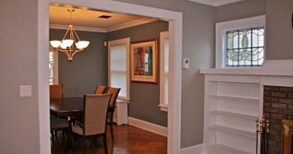 Benjamin Moore- Thunder (living room), Van Courtland Blue (dining room). Neutral paint