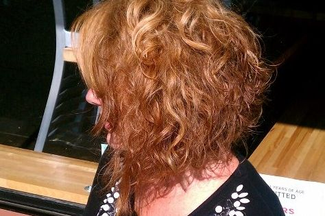 Modified Wedge Haircut Curly Stacked Hairstyles Curly