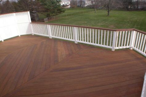Stained Deck With White Railing Stained Top Of Railing That Is A Great Color Our Trim Is White May Stain All Of T Staining Deck Building A Deck Deck Paint