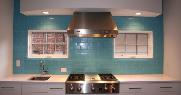 Aqua Glass Subway Tile Grout Stainless Steel Kitchen