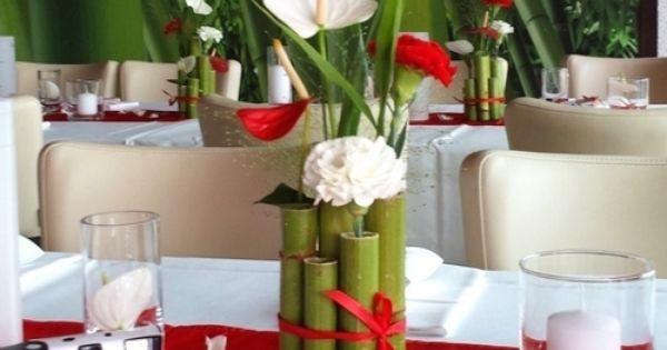 Tischdeko in rot wei hochzeitsdeko renautria geb ndelt als tischgesteck best ckt mit - Tischdeko bambus ...