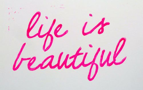 LINOCUT PRINT Positive Cheerful Life Is Beautiful by inkstomp