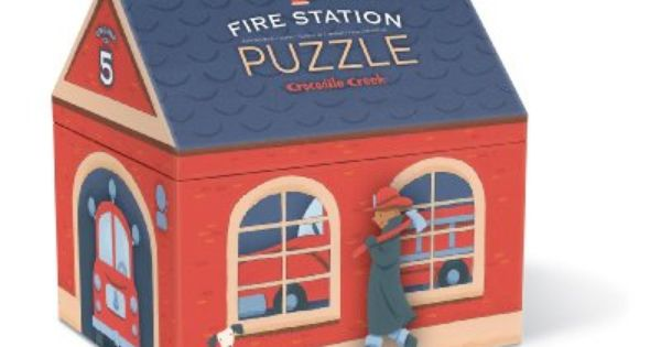 Crocodile Creek Fire Station House Shaped Box Floor Puzzle 36 Piece Amazon Toys Games Floor Puzzle Fire Station Play House