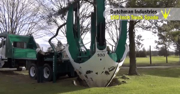 Watch This Giant Spade Take Out A Tree In One Scoop Spade Tree Tree Removal