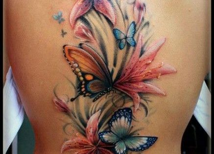 Butterfly and Flower Tattoo- need to fix my sad butterfly and flower