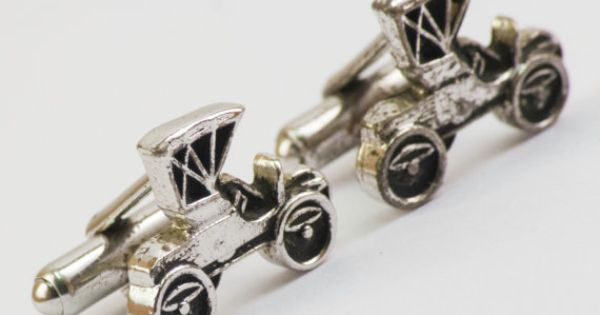 Vintage Cufflinks  Antique Cars Cuff Links Silver by CuffsandClips, $19.85