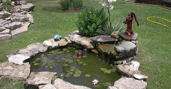 Old pump fountain into pond garden water features for Small pond equipment