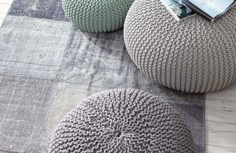 Chalky Shades For Contemporary Country Living Pouf In Hellgrau Mint Dunkelgrau Bei