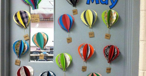 Ocean Classroom Decorating Ideas ~ Hot air balloons for my classroom door klas klasdeur