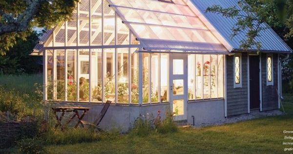 Greenhouse And Shed Combo Looks Great With The Lighting
