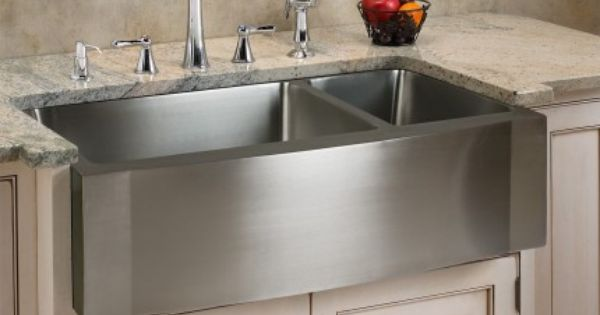 Shallow Apron Sink : Stainless Steel 70/30 Offset Double-Well Wave Apron Farmhouse Sink ...