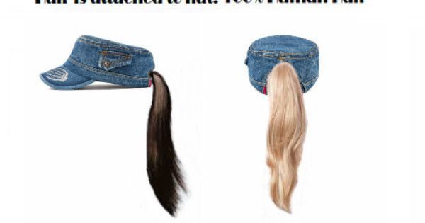Hair Attached Blue Jean Baseball Cap With Attached Ponytail Hair Chemo Hair Hat Or Wear Just For Fun 100 Human 100 Human Hair Ponytail Hairstyles Chemo Hair