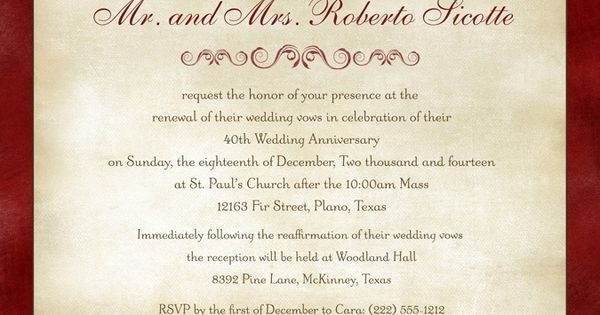 Nice Wedding Vow Renewal Invitation Wording Samples With Ruby Anniversary Vow Renewal Invitation