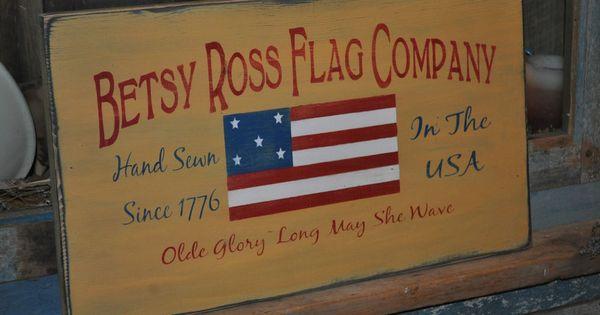 Primitive Betsy Ross American Flag Wood Sign 20 Long Rustic Folk Art Home Decor Naiveprimitive