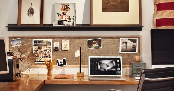 Love the framed horizontal pin board above the desk (Public School via From the Desk ...