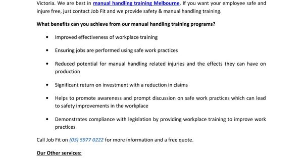 Best manual handling training in melbourne job fit Melbourne - manual handling risk assessment