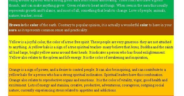 Aura Color Meaning Chart Meridianen En Chakra S