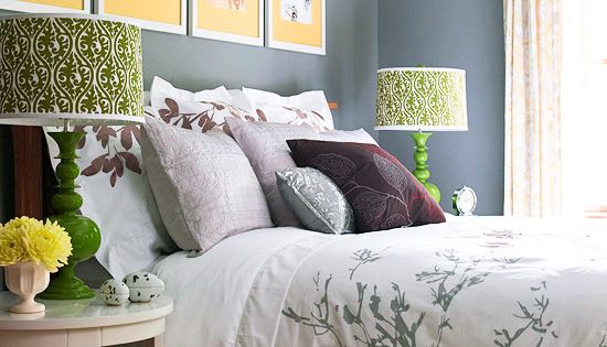 grey walls, colorful accents.