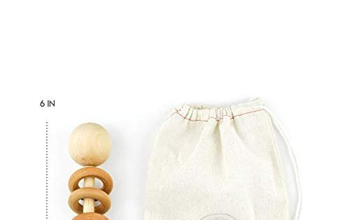 Natural Sealed with Organic Virgin Coconut Oil Perfect Grasping Teething Toy for Toddlers Handmade in The USA Organic Wood Montessori Styled Baby Rattle by Homi Baby