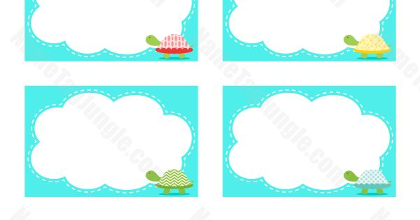 Free Printable Turtle Name Tags The Template Can Also Be
