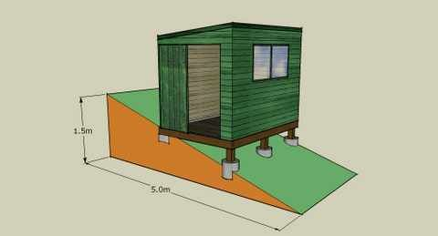 Ideas for building a shed tent platform on a slope for Tent platform construction