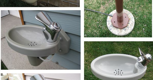 Outdoor drinking fountain for the kids in the back yard. Then they