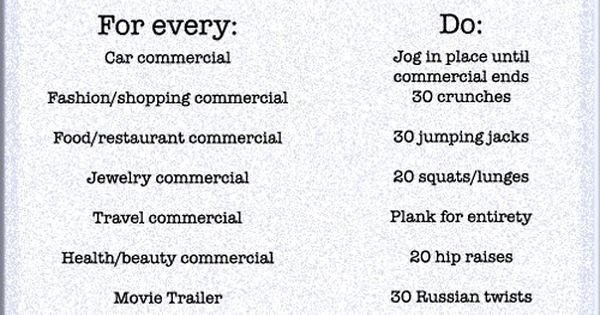 The TV Commercial Workout! So needed! I want to print this out