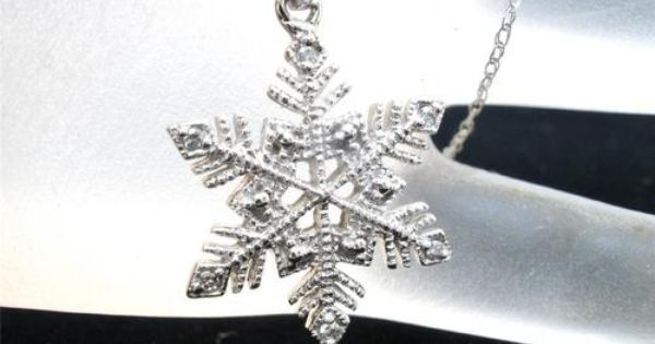 10k White Gold Diamond Snowflake Necklace Winter Christmas Gift New In Box Ebay I Love Jewelry