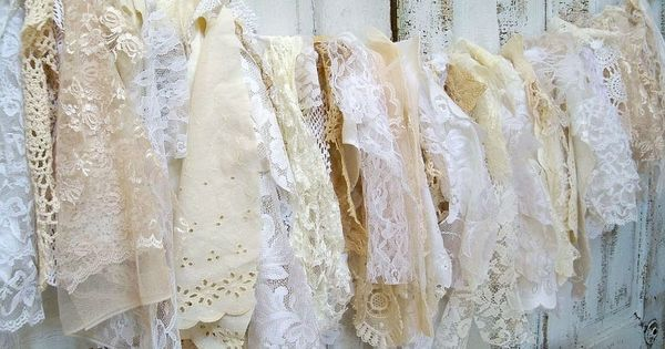 Shabby Chic Fabric Garland Wall Hanging Homemade Romantic Lace White Cream Vanilla Home Decor