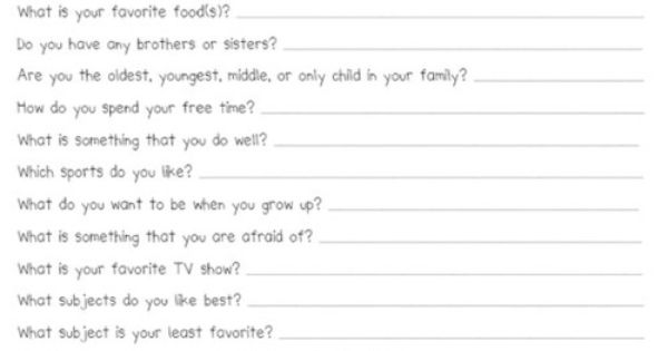 Fun questionnaire for the kids (start of year?)