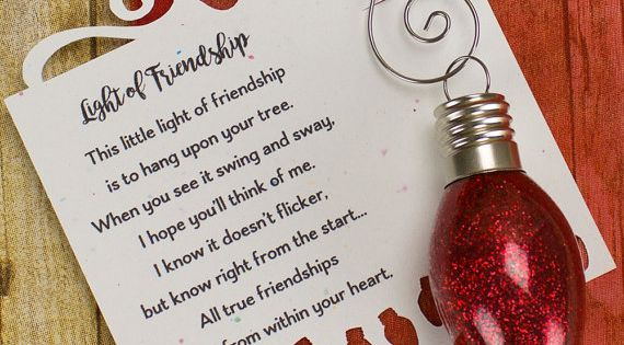 Light Of Friendship Christmas Light Bulb Ornament By