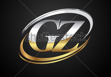 Initial Letter Gz Logotype Company Name Colored Gold And Silver Swoosh Design Isolated On Black Background