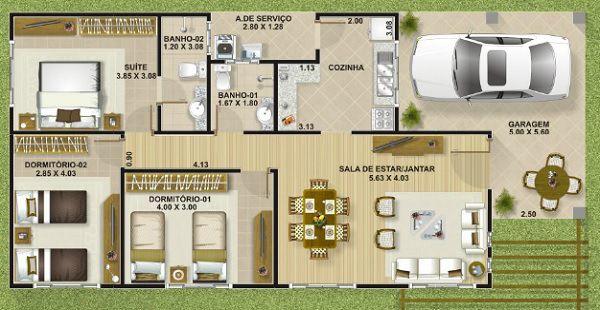 Plano de casa economica de tres dormitorios y 111 metros for Planos de casas de 24 metros cuadrados