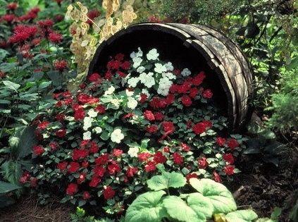 Whiskey Barrel Flower Bed