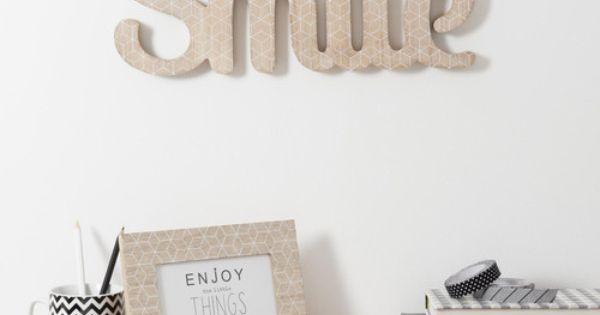 mot d co smile en bois l 40 cm blackstage primark maison. Black Bedroom Furniture Sets. Home Design Ideas