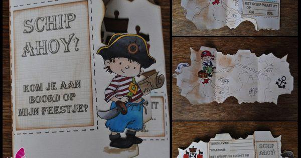 Piratenkaart Kinderfeest Uitnodiging Piraten Pinterest